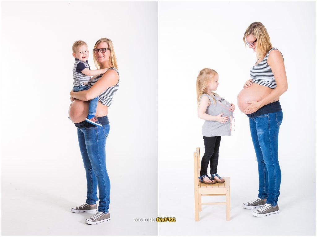 zwangerschaps fotoshoot van tweeling